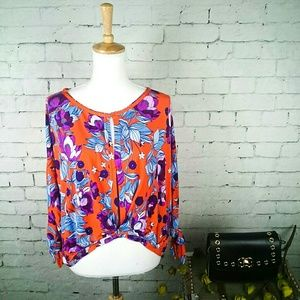 NWT Free People Keeping On floral twist front top